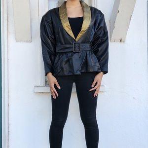 Vintage Kenn Brooks Black Belted Leather Jacket